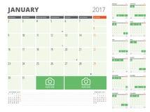 Kalenderontwerper voor het Jaar van 2017 Royalty-vrije Stock Foto