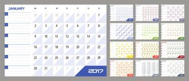 Kalenderontwerper voor het Jaar van 2017 Stock Foto's