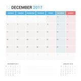 Kalenderontwerper voor Vector Stationair het Ontwerpmalplaatje van December 2017 Stock Foto's