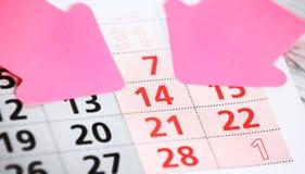 Kalenderpagina Stock Fotografie