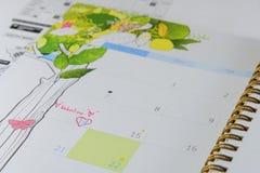 Kalenderpagina met een detail van de valentijnskaartdag Stock Afbeelding