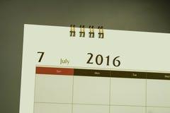 Kalenderpagina van maand 2016 Royalty-vrije Stock Afbeeldingen