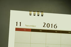 Kalenderpagina van maand 2016 Stock Foto's