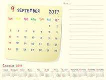 Kalenderpapieranmerkung im September 2017 Lizenzfreies Stockfoto