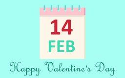 Kalenderpictogram 14 de Dag van Februari Valentine ` s op blauwe achtergrond Het concept van de liefde Vector illustratie Royalty-vrije Stock Fotografie