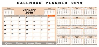 Kalenderplaner 2019 Stock Abbildung