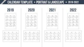 Kalenderraster för år 2019-2022 på vit bakgrund Stående- och landskapriktningsorientering Mall för vektordesigntryck wee royaltyfri illustrationer