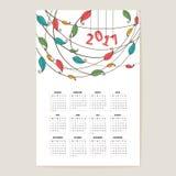 Kalenderraster för 2017 Arkivbild