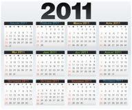Kalenderrasterfeld 2011-Jahr-Englisch Lizenzfreie Stockfotos