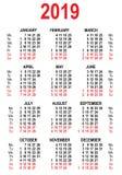 Kalenderrastermall 2019 stock illustrationer