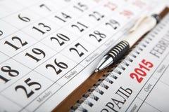 Kalenders op de lijst worden gelegd die Stock Afbeelding