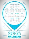 Kalenderschablone 2016 Stockfotografie