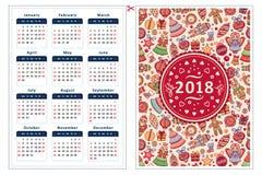 2018 Kalenderschablone Lizenzfreies Stockbild