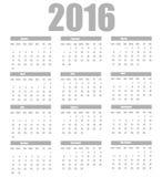 Kalenderschablone 2016 auf einem weißen Hintergrund Lizenzfreie Stockfotos
