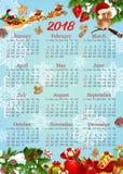 Kalenderschablone mit Weihnachten und Neujahrsgeschenk Lizenzfreies Stockbild