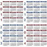 Kalenderschablonen für 2011 - 2014 Lizenzfreie Stockfotografie