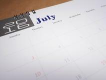 Kalenderseite 7 Lizenzfreies Stockfoto