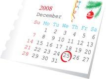 Kalenderseite Dezember 2008 Lizenzfreies Stockfoto
