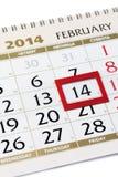 Kalenderseite mit rotem Rahmen am 14. Februar 2014. Lizenzfreie Stockfotos