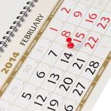 Kalenderseite mit roten Reißzwecken am 14. Februar 2014. Stockfotografie