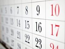 Kalenderseitennahaufnahme Stockfoto