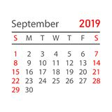 Kalenderseptember 2019 år i enkel stil Kalenderstadsplanerare D vektor illustrationer