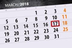 Kalendersidaår 2018 månad marsdatum 17 Arkivfoton