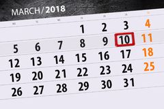 Kalendersidaår 2018 månad marsdatum 10 Arkivbild