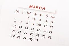 Kalendersida för mars 2017 Arkivfoto