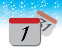 Kalendersida på blå bakgrund Vektor Illustrationer