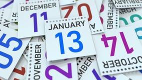 Kalendersidan visar det Januari 13 datumet, tolkningen 3D vektor illustrationer