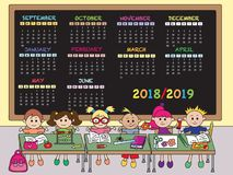 Kalenderskola 2018-2019 stock illustrationer