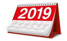 Kalenderskrivbord 2019 i röd färg Fotografering för Bildbyråer