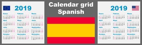 Kalenderspanjor, latinamerikansk 2019 fastställd mall för illustration för rasterväggISO 8601 med att numrera för vecka illustrat vektor illustrationer
