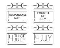 Kalenderspictogrammen die voor de Onafhankelijkheidsdag worden geplaatst royalty-vrije illustratie