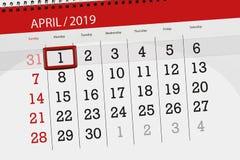 Kalenderstadsplanerare för månaden april 2019, stopptiddag, måndag 1 stock illustrationer