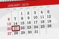 Kalenderstadsplanerare för månaden januari 2019, stopptiddag, 21, måndag vektor illustrationer
