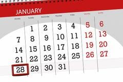 Kalenderstadsplanerare för månaden januari 2019, stopptiddag, 28, måndag stock illustrationer