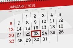 Kalenderstadsplanerare för månaden januari 2019, stopptiddag, onsdag 23 royaltyfri illustrationer