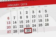 Kalenderstadsplanerare för månaden januari 2019, stopptiddag, onsdag 30 royaltyfri illustrationer