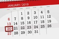 Kalenderstadsplanerare för månaden januari 2019, stopptiddag, 20, söndag stock illustrationer