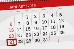 Kalenderstadsplanerare för månaden januari 2019, stopptiddag, 27, söndag stock illustrationer