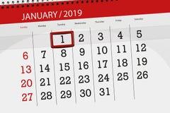 Kalenderstadsplanerare för månaden januari 2019, stopptiddag, 1, tisdag royaltyfri illustrationer