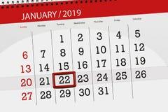 Kalenderstadsplanerare för månaden januari 2019, stopptiddag, 22, tisdag vektor illustrationer