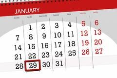 Kalenderstadsplanerare för månaden januari 2019, stopptiddag, 29, tisdag royaltyfri illustrationer