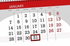 Kalenderstadsplanerare för månaden januari 2019, stopptiddag, 31, torsdag royaltyfri illustrationer