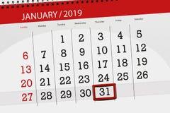 Kalenderstadsplanerare för månaden januari 2019, stopptiddag, 31, torsdag stock illustrationer