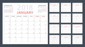 Kalenderstadsplanerare för 2018 starter måndag, vektorkalenderdesign 2018 år Arkivbilder