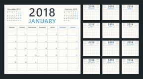 Kalenderstadsplanerare för 2018 starter måndag, vektorkalenderdesign 2018 år Arkivbild
