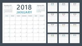 Kalenderstadsplanerare för 2018 starter söndag, vektorkalenderdesign 2018 år Arkivfoto